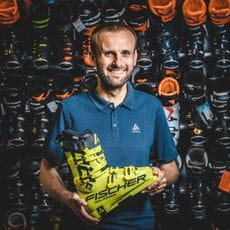 Fabian Stiepel holding a ski boot in his hands