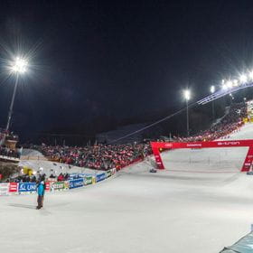 The Finish of the alpine world cup in schladming at planai stadion.