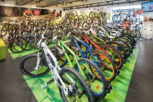 plenty various bicycles in the shop <br/>