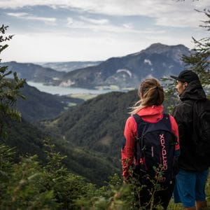 two people are standing at a hill and are looking at Wolfgangsee