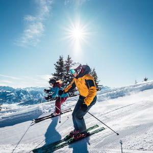 zwei Personen fahren nebeneinander Ski