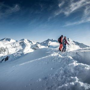 two skiers in deep snow at Kitzsteinhorn