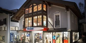 Bründl Sports shop in Saalbach at night