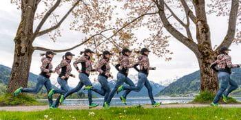 Manuela Macedonia running at lake Zell