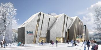 View of the new Bründl Sports Flagship Store in Kaprun