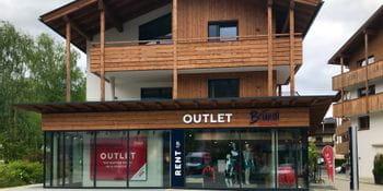 Aussenansicht des Bründl Sports Shops Kaprun Outlet