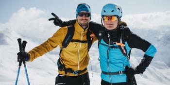 happy faces during a skitour