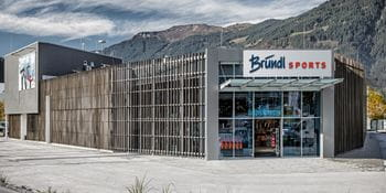 Outside view of the Bründl Sports store in Saalfelden
