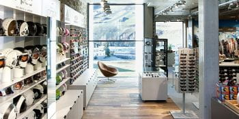 extensive view through the modern furnished sports shop <br/>