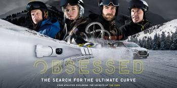 Poster mit 4 Wintersportlern, deren Sportart, Beschriftung von Namen, Plakattext und unten in der Mitte ein Ski.