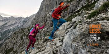 A couple doing speed hiking wearing the Dynafit Limitless Athletic Mountaineering collection