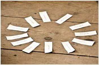 etwa zehn beschriftete Kärtchen liegen in einem Kreis angeordnet auf einem Holzboden