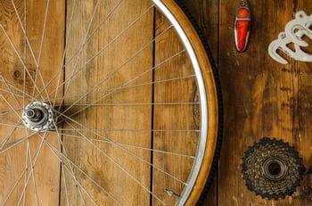 a dismounted wheel is lying on the floor