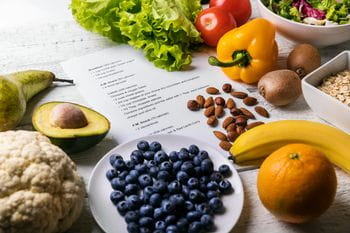 a receipt, fruits, vegetables and nuts<br/>