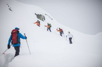 Climb to the avalanche course on the mountain
