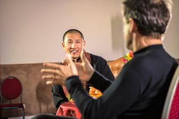 Christoph Bründl and Tulku Lobsang talking to each other