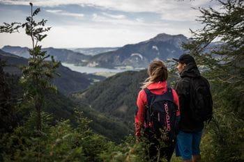 zwei Personen stehen auf einer Anhöhe und blicken auf den Wolfgangsee