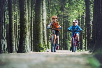 2 Kinder bei einer Mountainbike-Tour durch den Wald