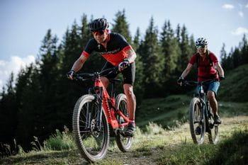 Fahrradfahrer beim Bergabfahren, im Hintergrund ist ein Wald.