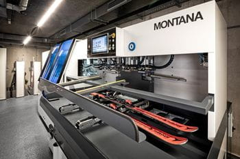Montana skiing service machine grinding and waxing skis