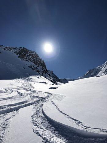 Skitracks in fresh snow
