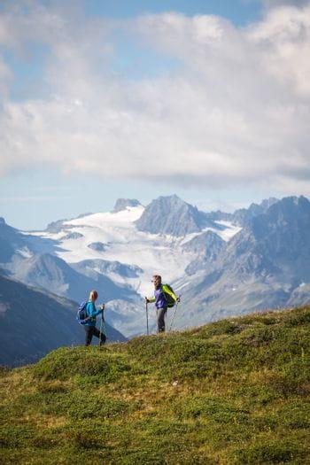 zwei Wanderer vor einer sommerlichen Alpenkulisse mit schneebedeckten Bergkuppeln