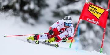 Ski racer Stefan Brennsteiner during a ski wordlcup giant slalom in Saalbach Hinterglemm