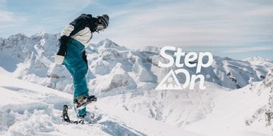A snowboarder getting into the new Burton Step On Binding