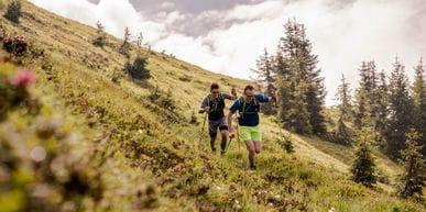 Christian Cantonati und Christoph Kohlberger beim Trail Running auf der Schmittenhöhe ausgestattet von Dynafit