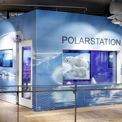 Outside of the polarstation in the Bründl Sports shop in Salzburg